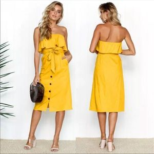Ruffle Top Dress Yellow
